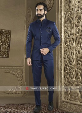 Charming Royal Blue Jodhpuri Suit