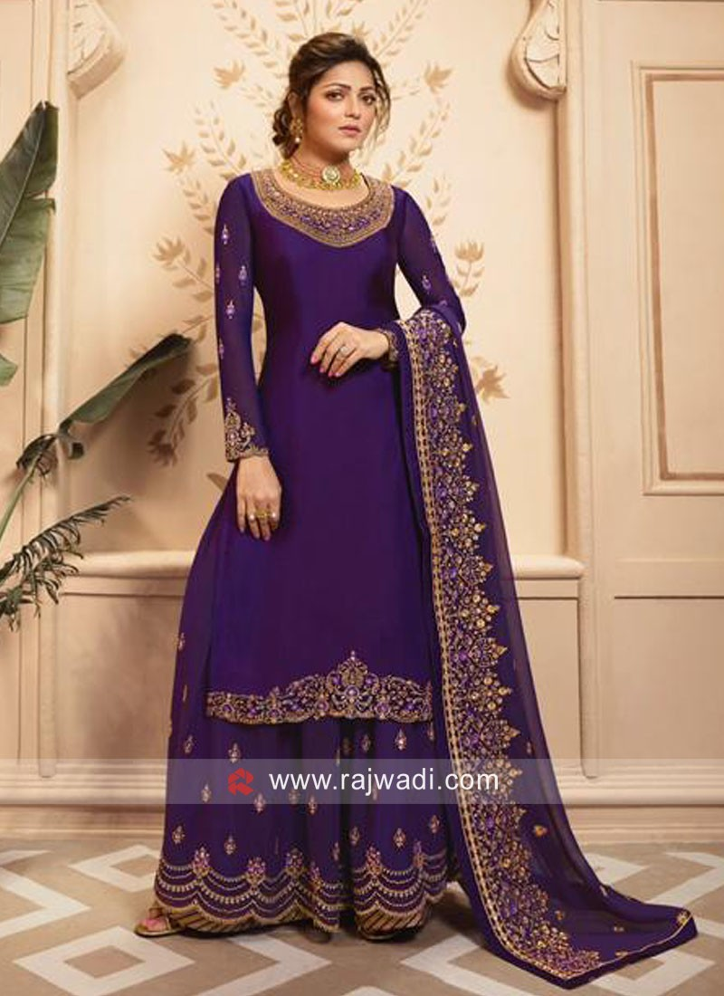 Charming  Satin Silk Gharara Suits