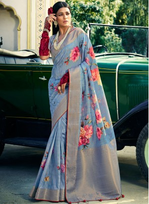 Charming Silk Blue Digital Print Classic Designer Saree