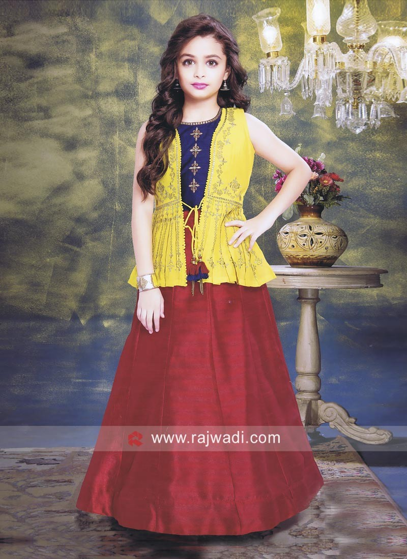 Charming Silk Fabric Girls Choli Suit For Wedding