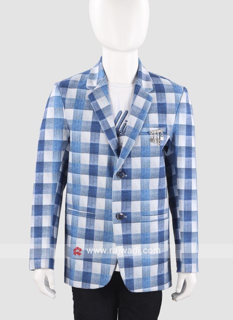 Charming Sky Blue Blazer For Boys