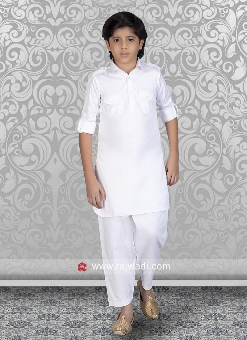 Charming White Color Boys Pathani