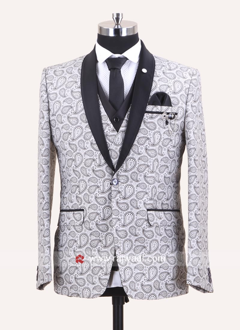 Charming White Party Wear Suit