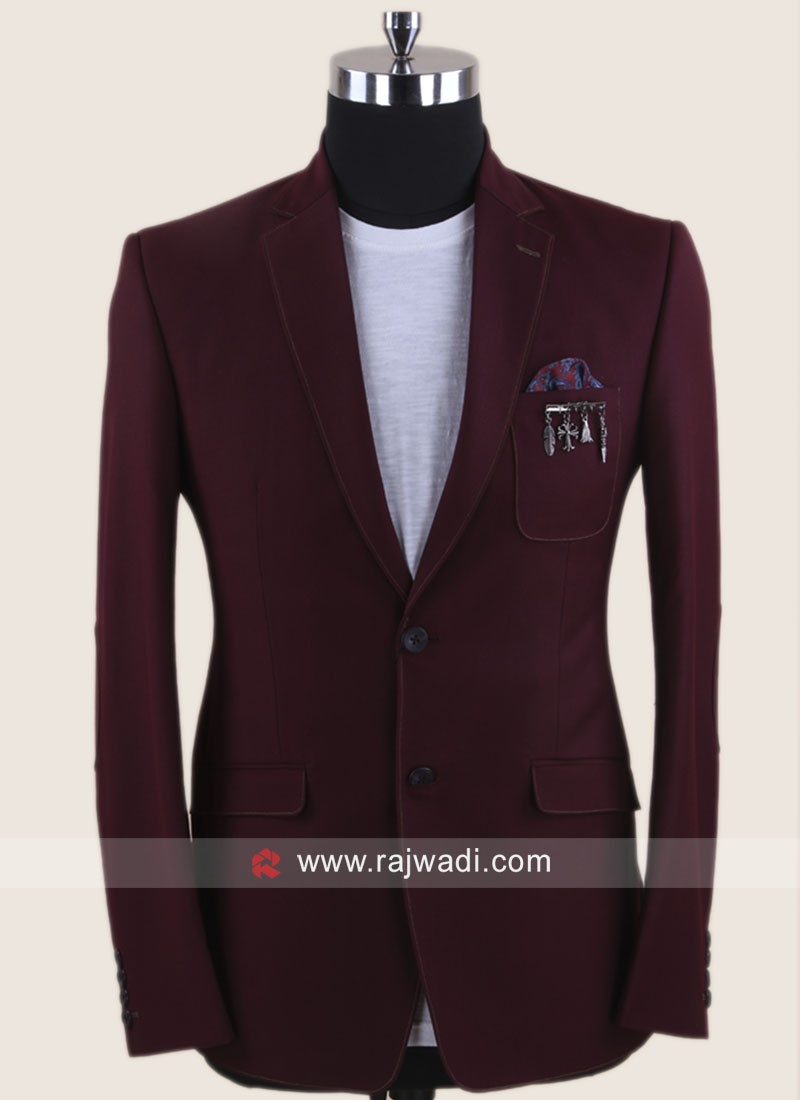 Charming Wine Blazer In Terry Rayon