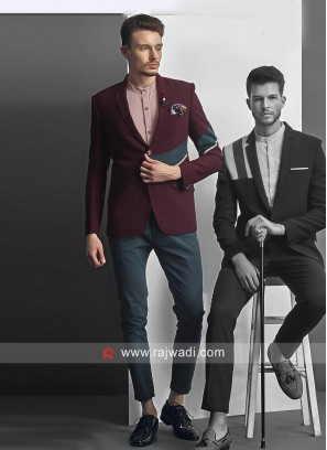 Charming Wine Color Blazer For Party