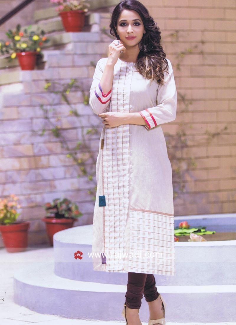 Checks Print Cotton Straight Fit Kurti