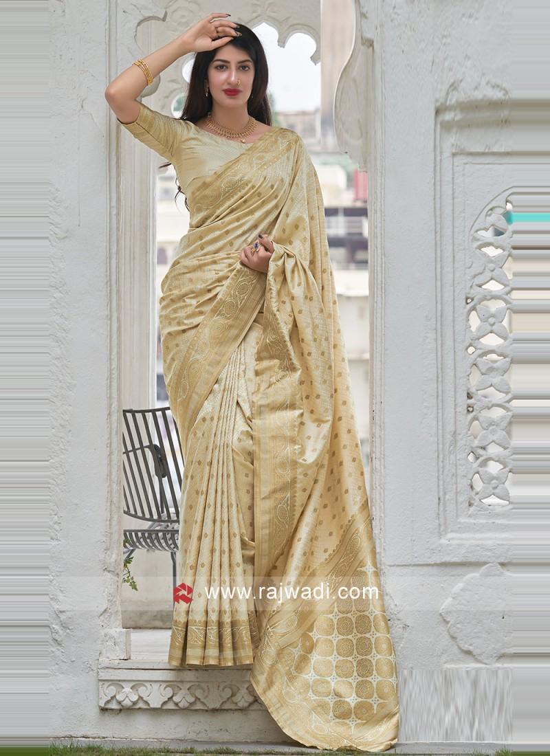 Chic Woven Beige Satin Silk Designer Traditional Saree