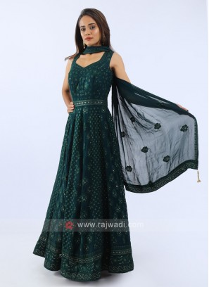 Chiffon Anarkali Suit In Bottle Green