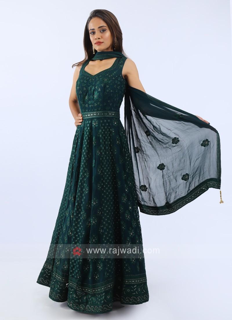 Chiffon Anarkali Suit In Bottle Green