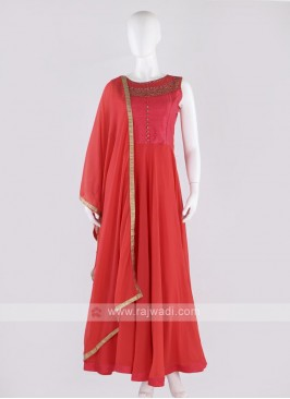 Chiffon anarkali suit in crimson color