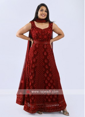 Chiffon Anarkali Suit In Maroon