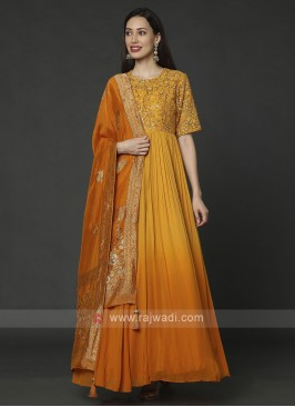 Chiffon Anarkali Suit In Mustard Yellow