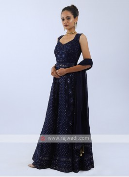 Chiffon Anarkali Suit In Navy Blue