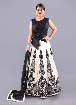Designer Cotton Silk Embellished Anarkali Set