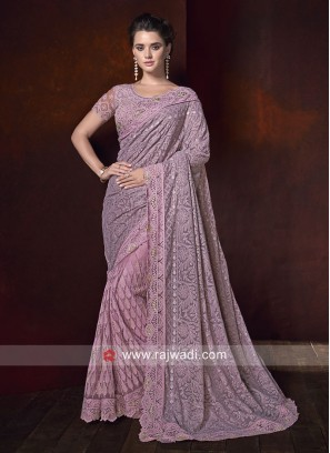 Chiffon and Net Saree with Cutwork Border