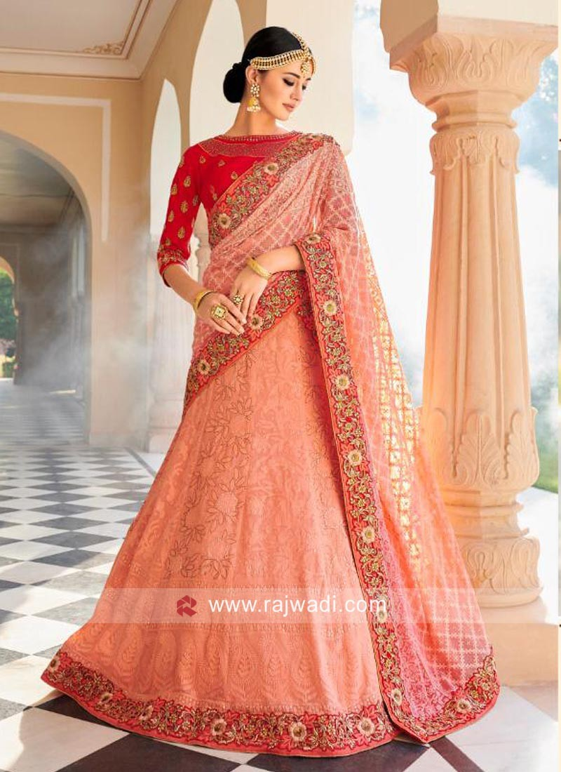 Chiffon and Raw Silk Designer Lehenga Choli