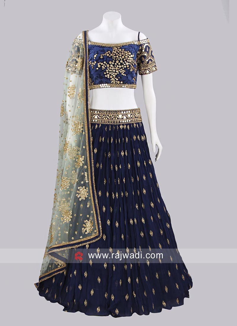 5a621b52f7 Chiffon and Silk Lehenga Choli Set. Hover to zoom