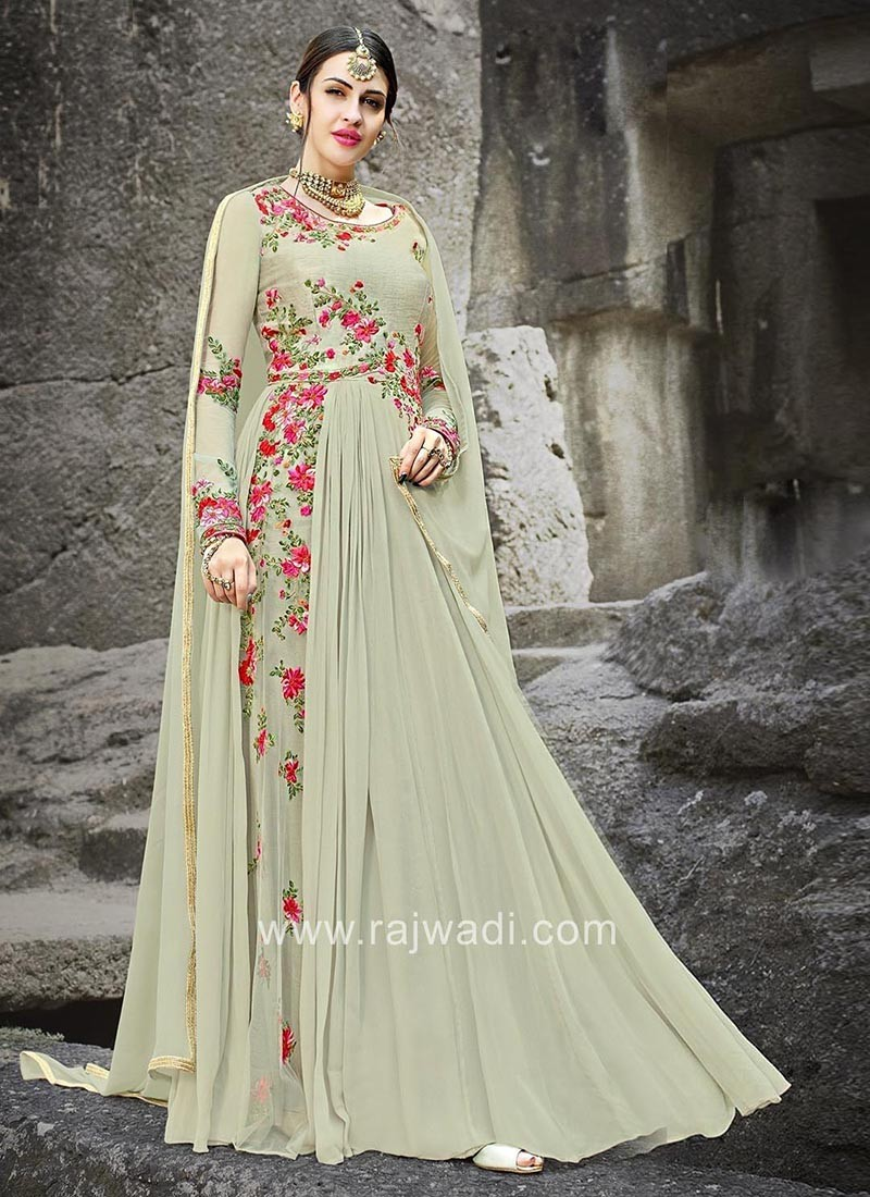 Chiffon and Silk Semi Stitched Anarkali with Dupatta