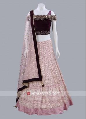 Chiffon and Velvet Choli Suit