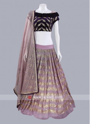 Chiffon and Velvet Lehenga Set