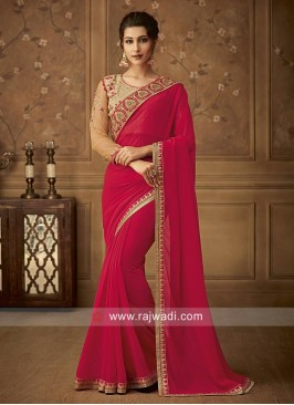 Chiffon Border Work Saree in Red