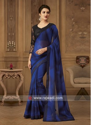 Chiffon Border Work Saree with Blouse