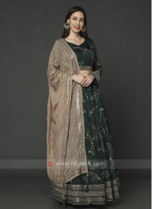 Chiffon Bottle Green Choli Suit