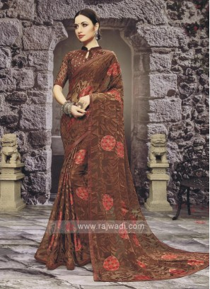 Chiffon Brasso Saree In Brown