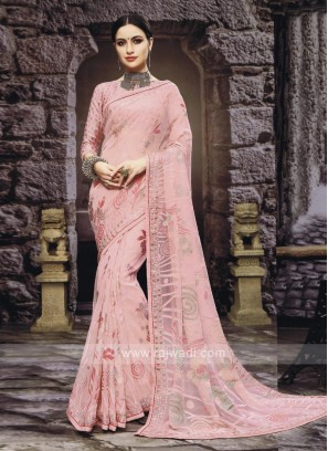 Chiffon Brasso Saree In Light Pink