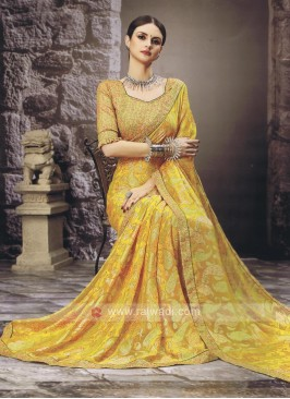 Chiffon Brossa Saree In Yellow