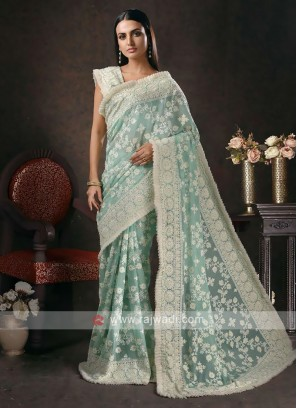 chiffon chikankari saree in sea green color