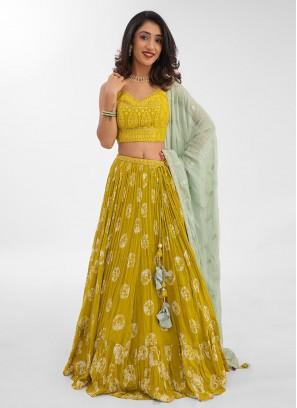 Chiffon Choli Suit In Lemon Yellow Color