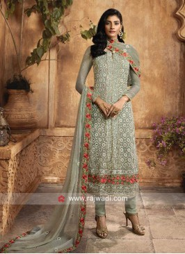 Chiffon Churidar Suit in Light Pista
