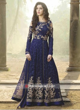 Chiffon Cold Shoulder Unstitched Salwar Suit