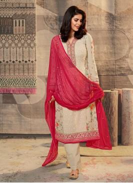 Chiffon Cream Color Dress Material
