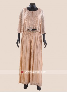 Chiffon Crop Top with Palazzo in Peach