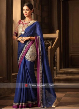 Chiffon Dark Blue Embellished Saree