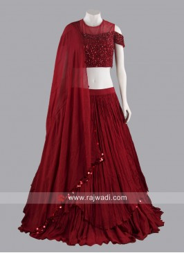 Chiffon Double Layer Lehenga Set in Red