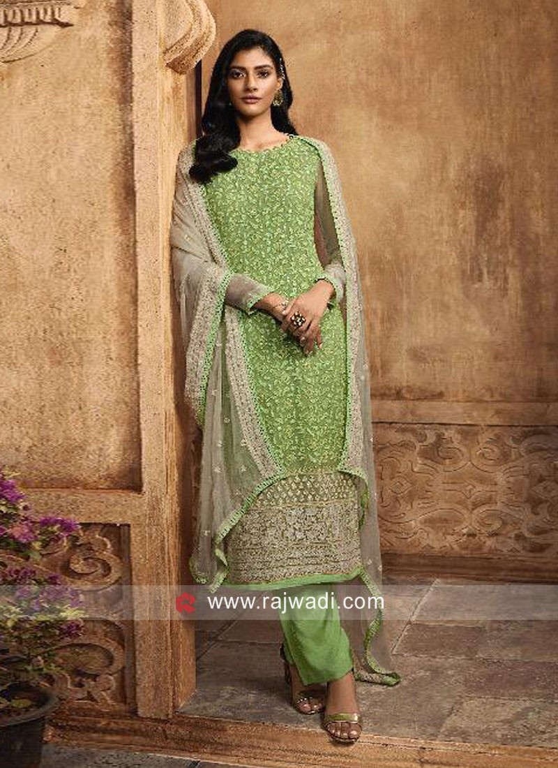 Chiffon Embroidered Pant Style Suit