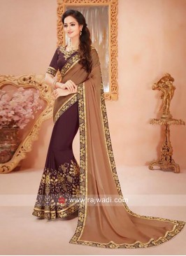Chiffon Embroidered Saree with Blouse