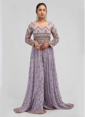 Chiffon Fabric Lilac Color Jumpsuit