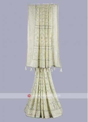 Chiffon fabric pista green saree