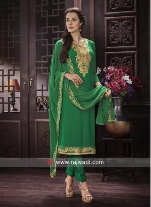 Chiffon Fabric Salwar Suit In Green