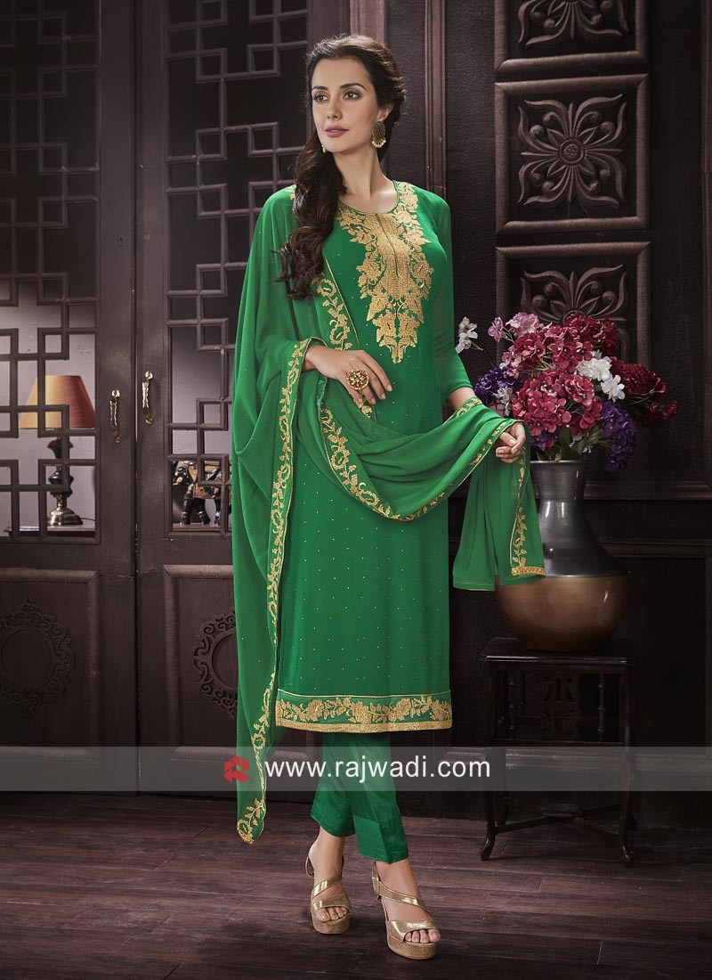 Chiffon Fabric Salwar Suit In Green