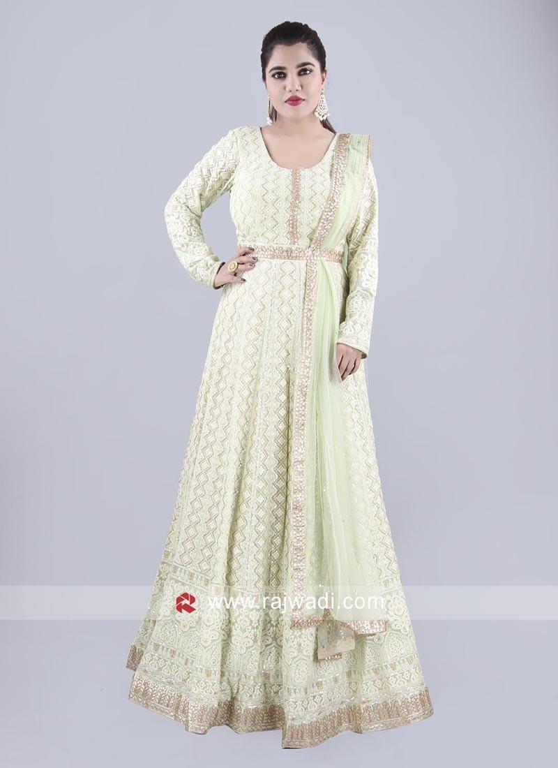 Chiffon Floor Length Anarkali with Dupatta