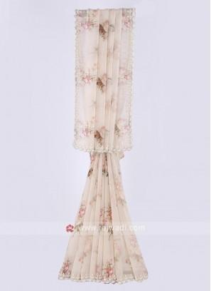 Chiffon flower print cream color saree