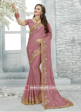 Chiffon Flower Work Saree with Blouse