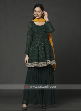 Chiffon Gharara suit In Bottle Green