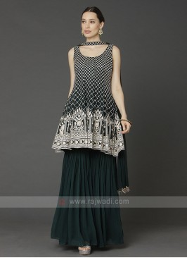 Chiffon Gharara Suit In Dark Green
