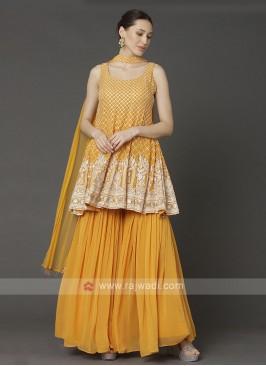 Chiffon Gharara Suit In Mustard Yellow